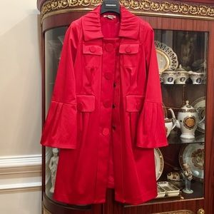 Nygard Collection Red Satin Bell Sleeve Coat